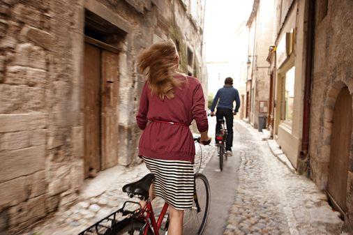 Rhône Landschaft mit Fahrrad